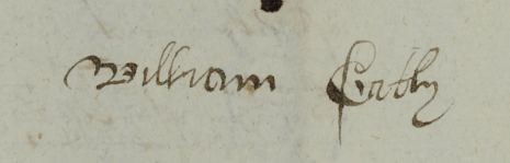 The signature of William Gately, Blacksmith (Canterbury Cathedral Archives)